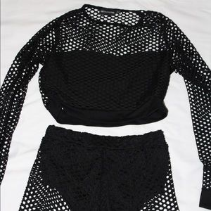 Fishnet hot pants and top set